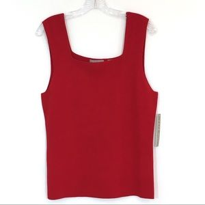 Kate Hill Red Square Neck Career Tank Top NWT XL